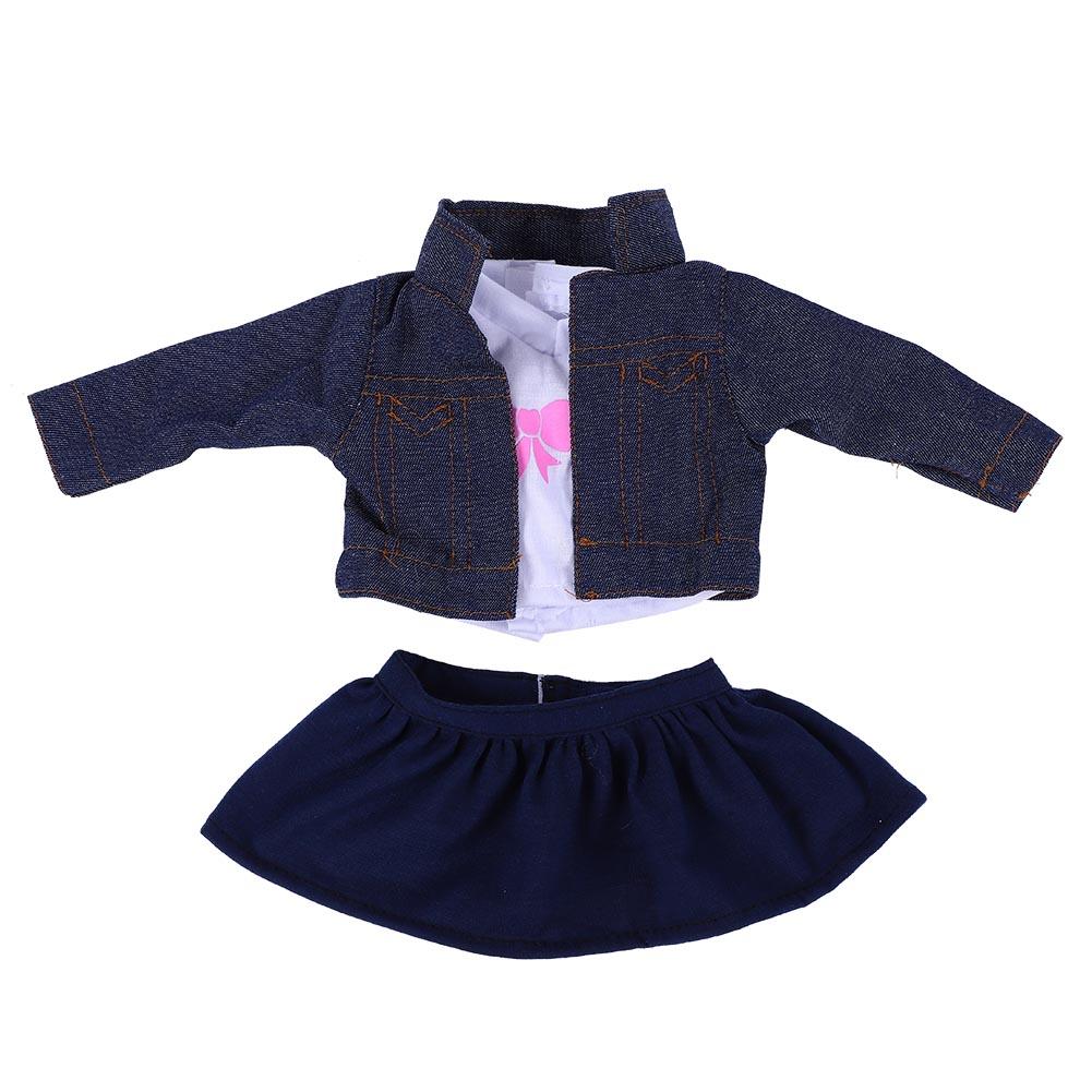 3pcs//set Girl Doll Clothes Dress Suit Set Top Skirt Coat for 18inch Girls Dolls