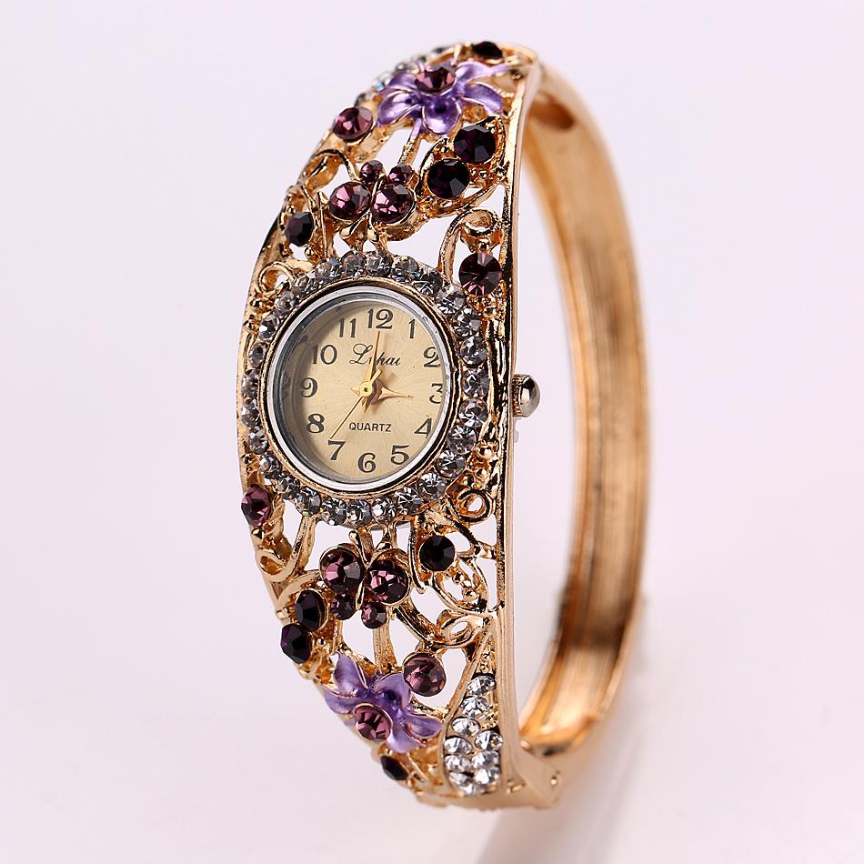 Luxury-Women-Ladies-Crystal-Flower-Bracelet-Quartz-Bangle-Cuff-Dress-Wrist-Watch