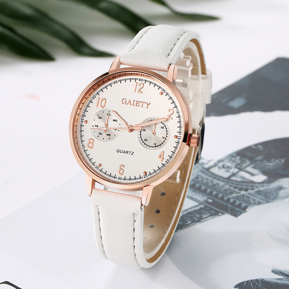 GAIETY-Womens-Ladies-Watches-Rose-Gold-Dial-Leather-Band-Quartz-Wrist-Watch thumbnail 14