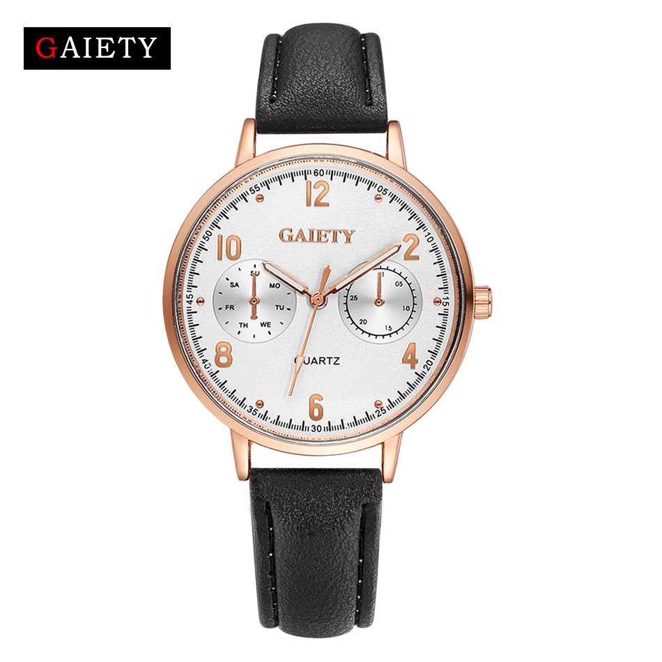 GAIETY-Womens-Ladies-Watches-Rose-Gold-Dial-Leather-Band-Quartz-Wrist-Watch thumbnail 22