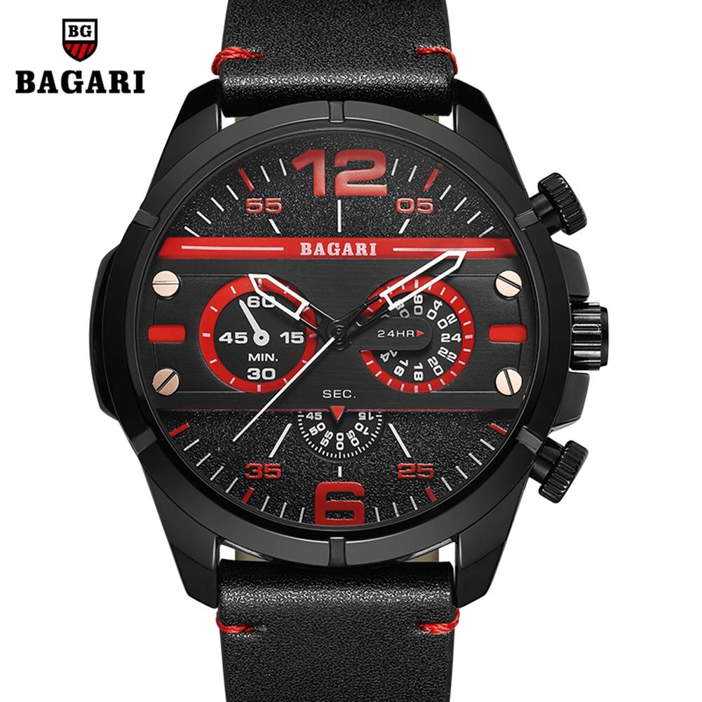 BAGARI-Fashion-Outdoor-Sport-Watch-3ATM-PU-Leather-Strap-Men-039-s-Quartz-Wristwatch