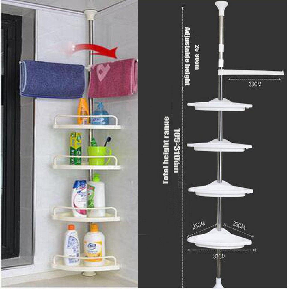 eckregal badregal duschablage 4 ablage teleskop badzimmer dusch regal k che top ebay. Black Bedroom Furniture Sets. Home Design Ideas