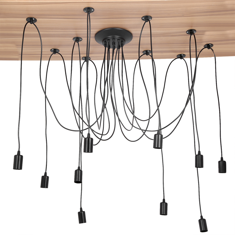 10 Head Vintage Style Pendant Light Holder Ceiling Lamp Hanger E27 Wiring Bulb Uk Sale