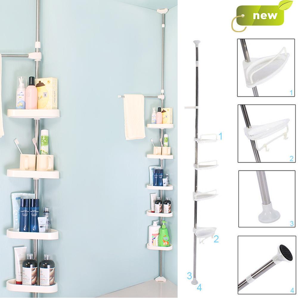 4 Tier Telescopic Adjustable Corner Bathroom Shelf Organiser Shower ...
