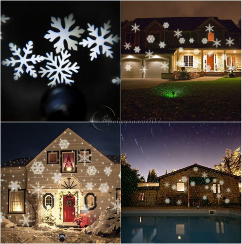 rgbwhite christmas snowflake led laser light projector landscape xmas lamp deco - Christmas Lights Projector On House