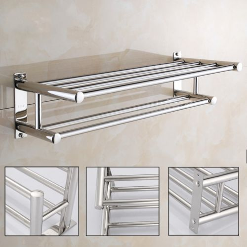 2 Layer Stainless Steel Wall Mounted Towel Rack Bathroom Hotel ...