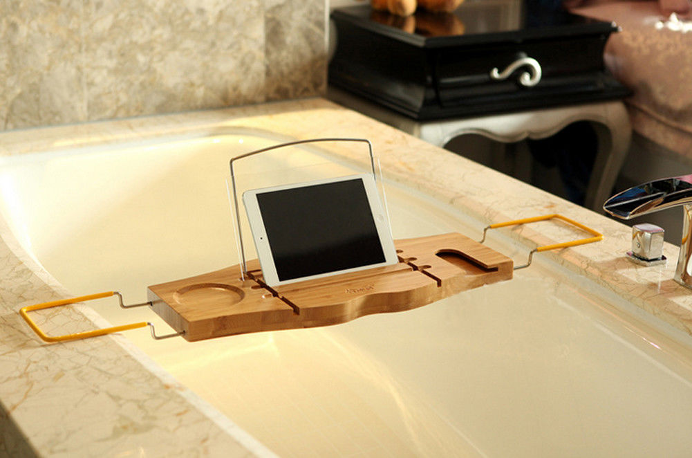 Bathroom Bamboo Bath Caddy Bathtub Book iPhone Holder Wineglass ...