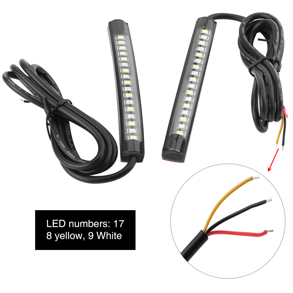 2x flexible 17 led strip light brake turn signal indicator