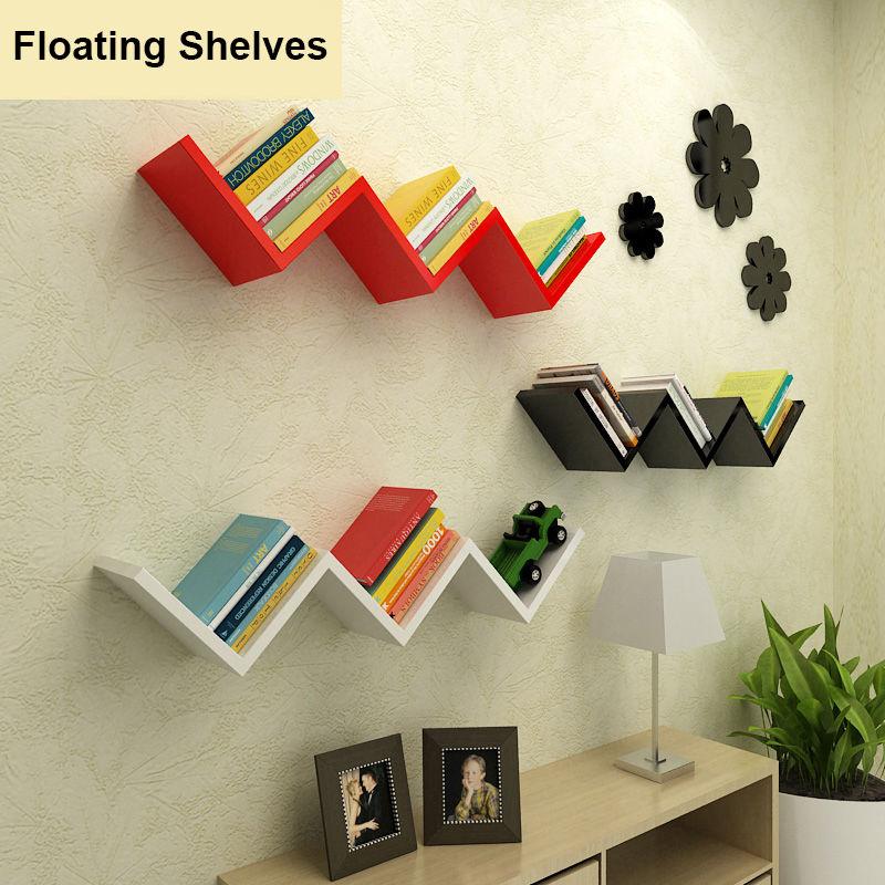 Modern Floating Shelf Display Wall Decorative Mount Ledge Bookshelf Storage US