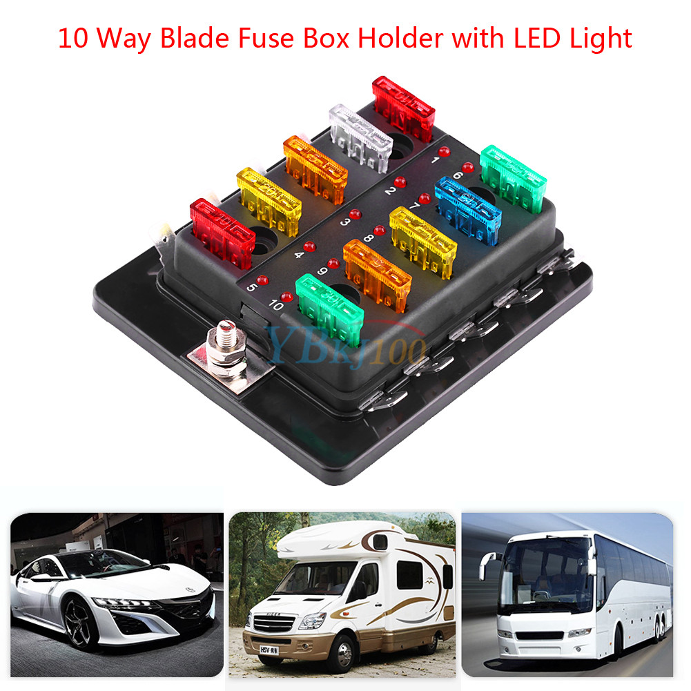 10 Way Car Vehicle Blade Fuse Box Block Holder With LED Light ATC ATO  Circuit JS