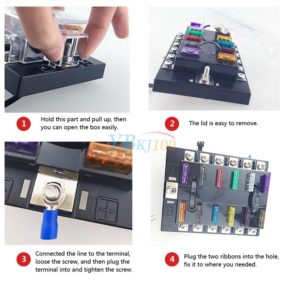 10 Way Car Vehicle Blade Fuse Box Block Holder With Led Light Atc Ato Circuit Js