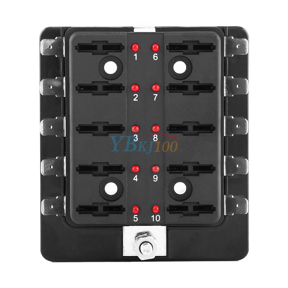 10 way blade fuse holder box led automotive fuse block w led rh ebay co uk Fused Junction Box Electric Fuse Box Types