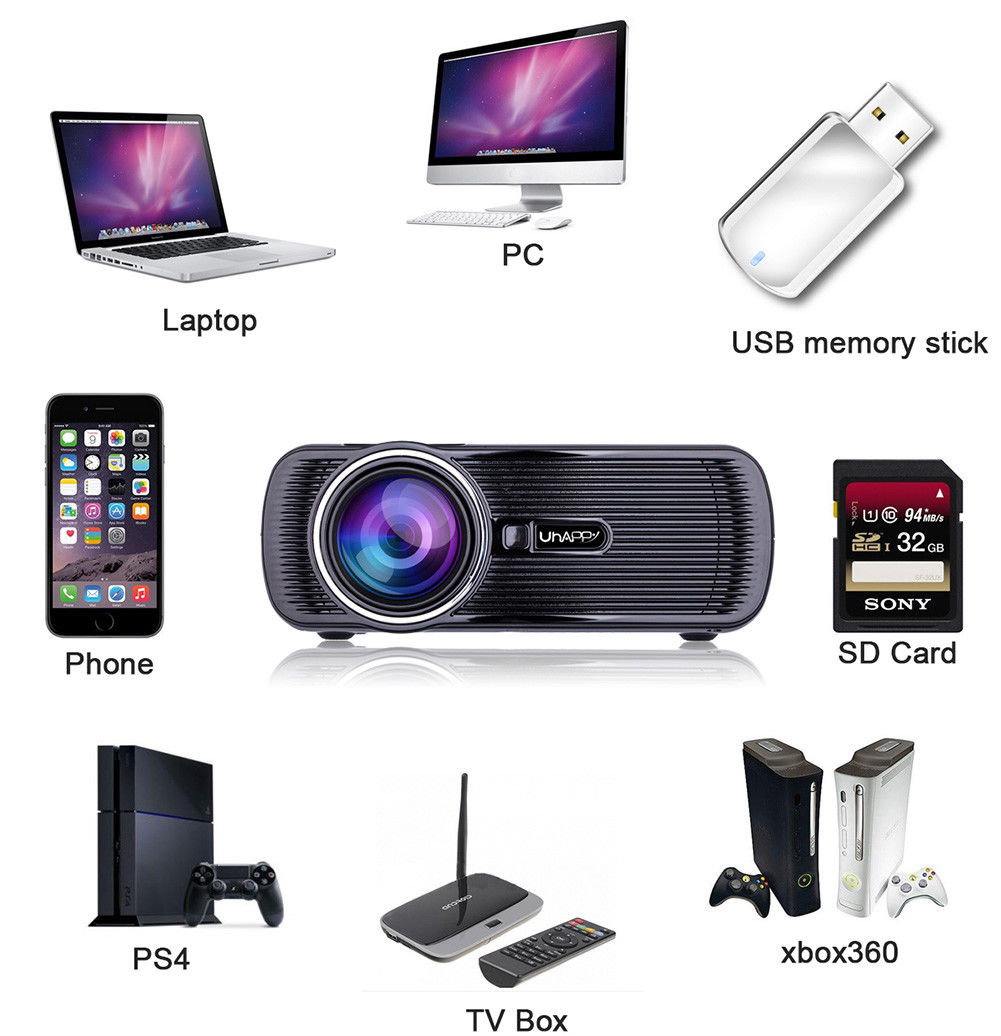 Hd Projector Full Color 720p 2400 Lumens Digital Tv Single: Mini 1080P Full HD LED Projector Home Theater Cinema 3D