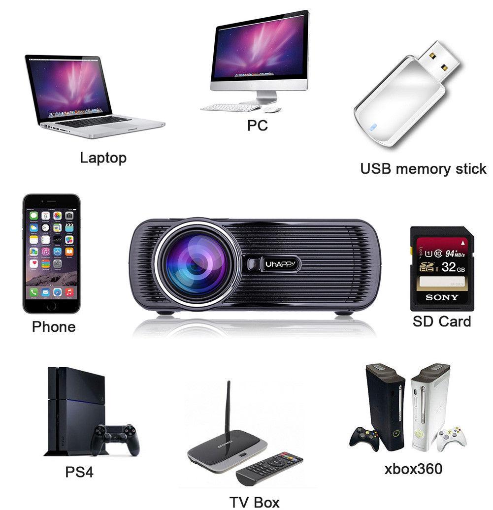 Fastfox Hd Projector Full Color 720p 3000 Lumens Analog Tv: Mini 1080P Full HD LED Projector Home Theater Cinema 3D