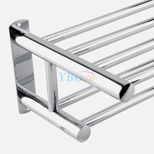 double chrome wall mounted bathroom towel rail holder storage rack shelf bar 764880429695 ebay. Black Bedroom Furniture Sets. Home Design Ideas
