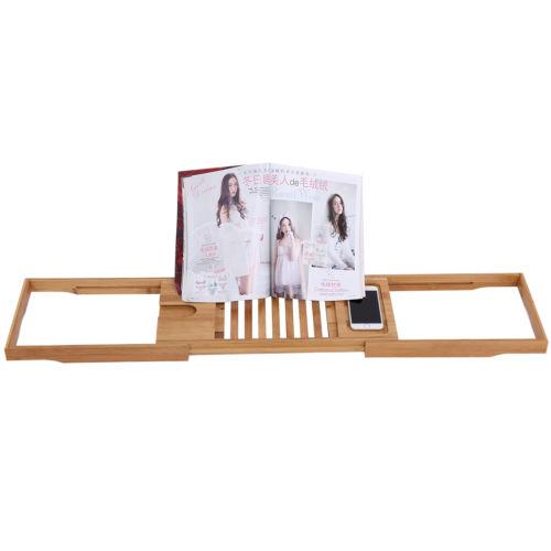 Over Bath Caddy Bathtub Rack Tray Shelf Bamboo Wine Book Holder Slim ...
