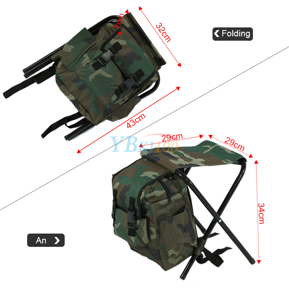 2 In 1 Folding Fishing Stool Backpack Seat Chair Hunting