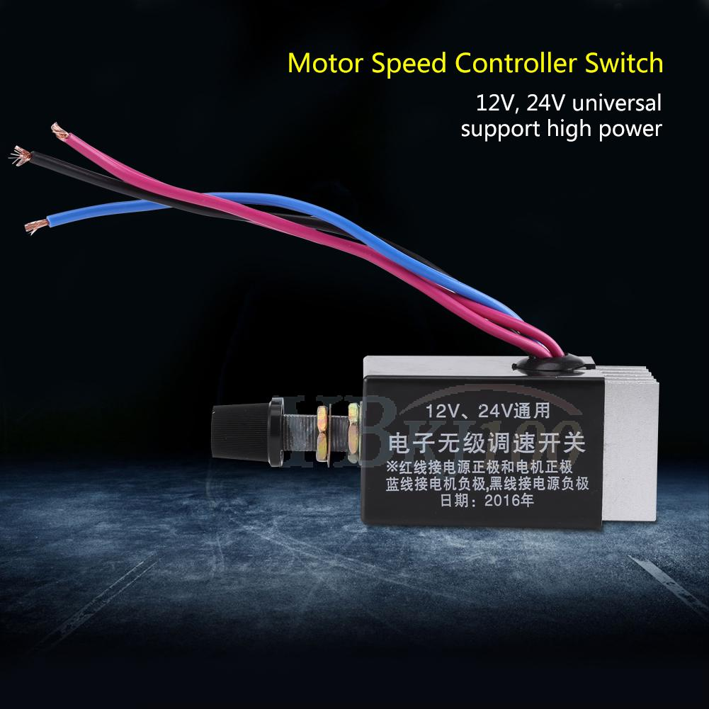 Dc 12v 24v 10a motor speed controller switch for car truck for Fan motor speed control switch