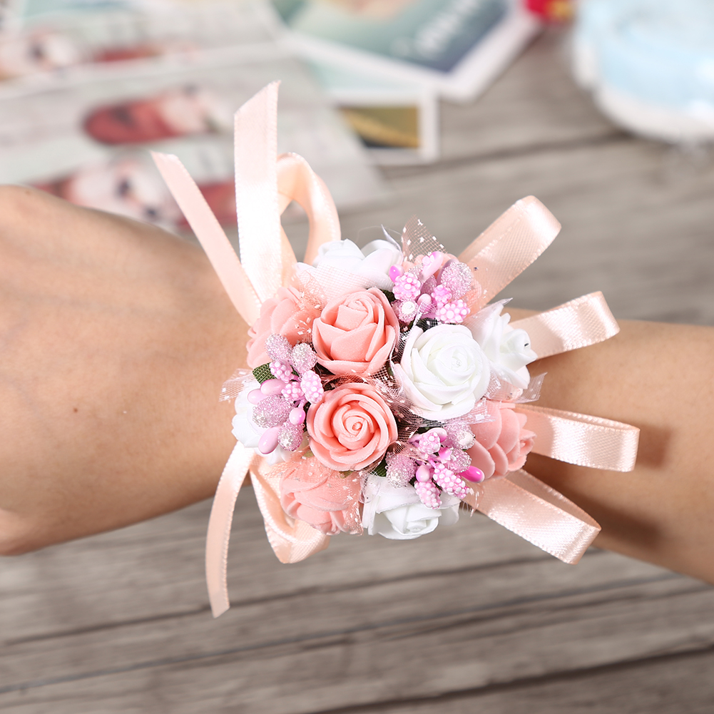 Wedding Hand Flowers Wrist Corsage Bouquet Bride Bridesmaid Flower ...