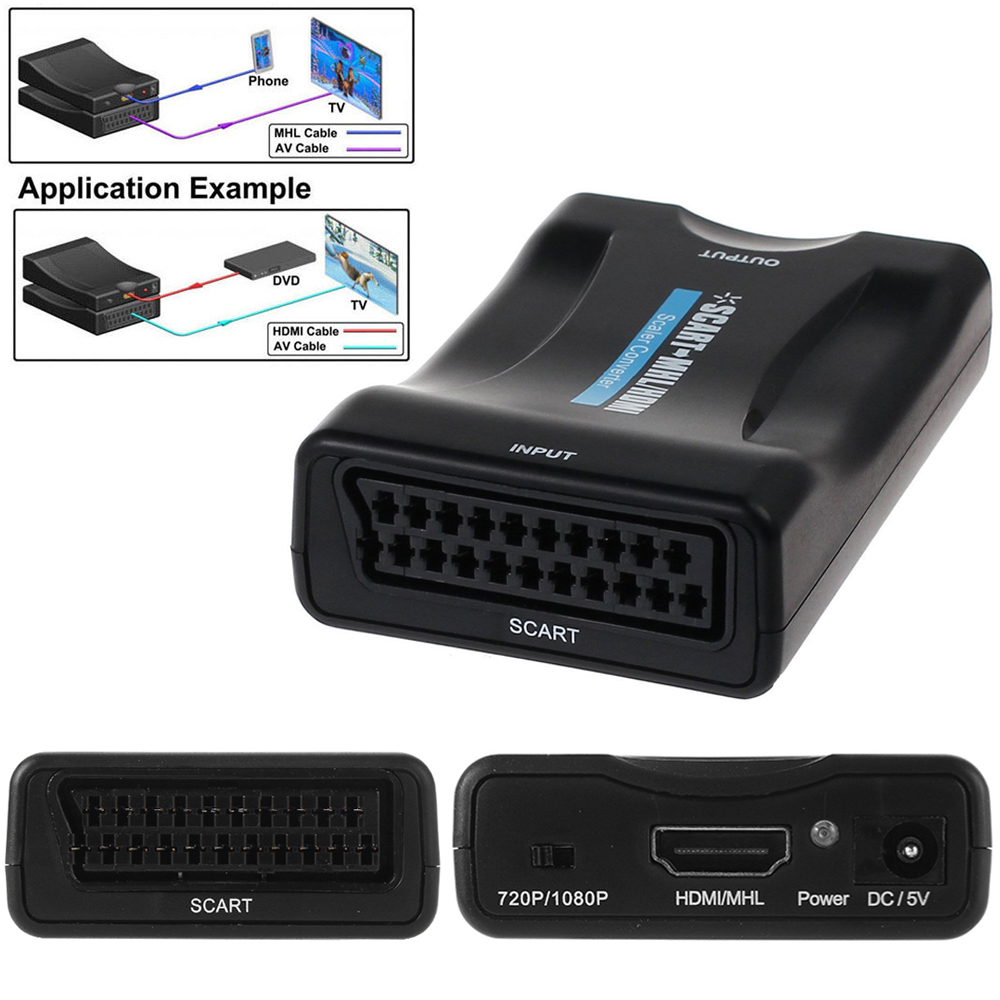 1080p SCART to HDMI MHL Converter Audio Video Adapter for HDTV DVD SKY STB