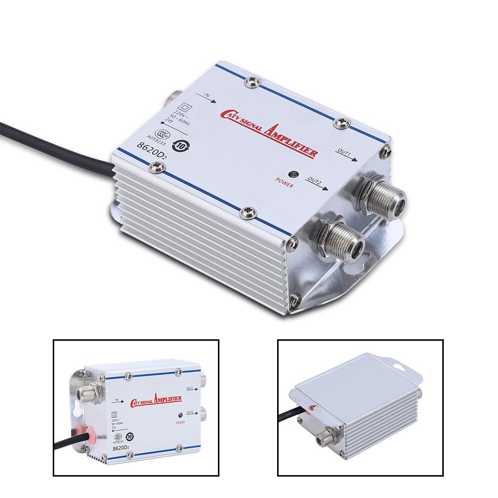 Pro 2 Way 20db Ac Catv Gain Tv Antenna Signal Booster