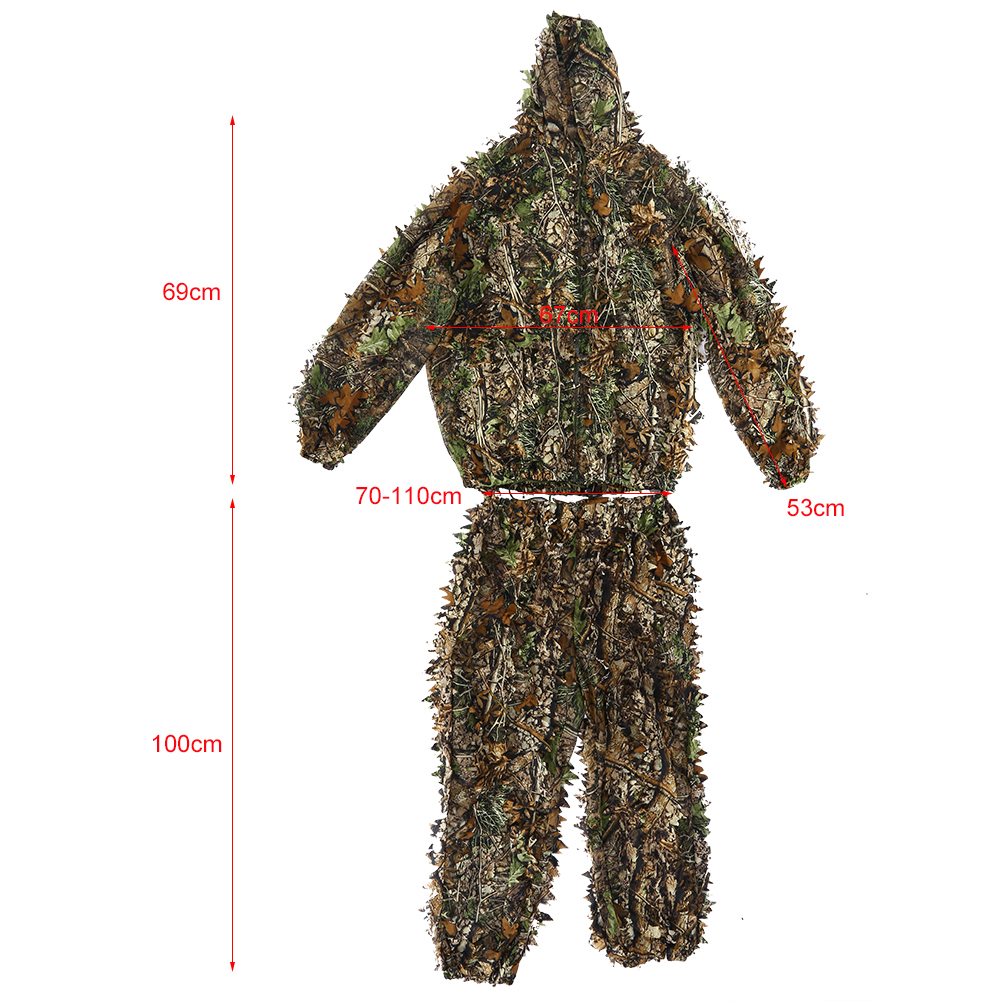 76cee9f4a5269 3D Camouflage Leaf Clothing Forest Hunting Sniper Ghillie Suit Cloak Jacket