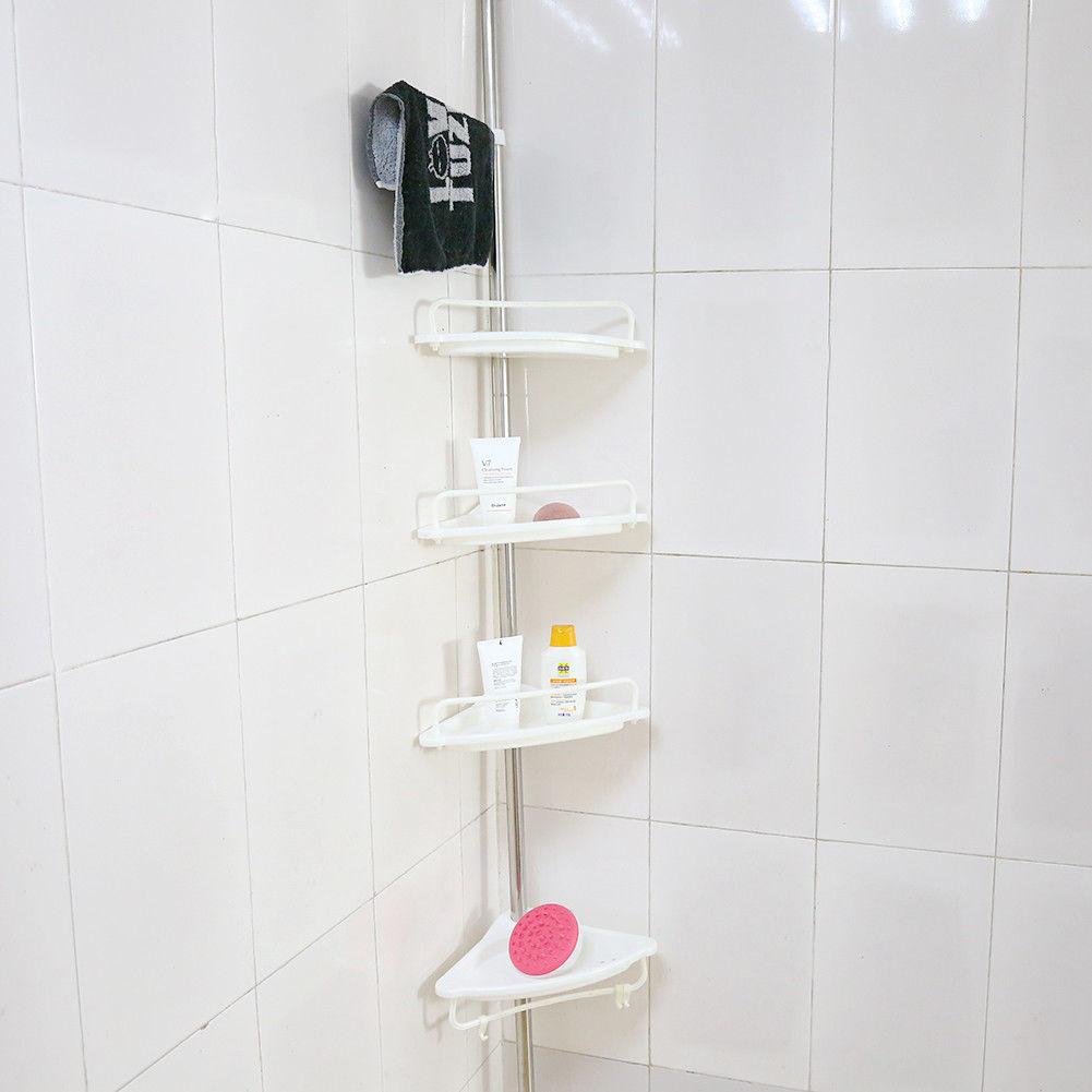 teleskop eckregal badregal duschregal 4 ablage verstellbar badzimmer k che weiss ebay. Black Bedroom Furniture Sets. Home Design Ideas