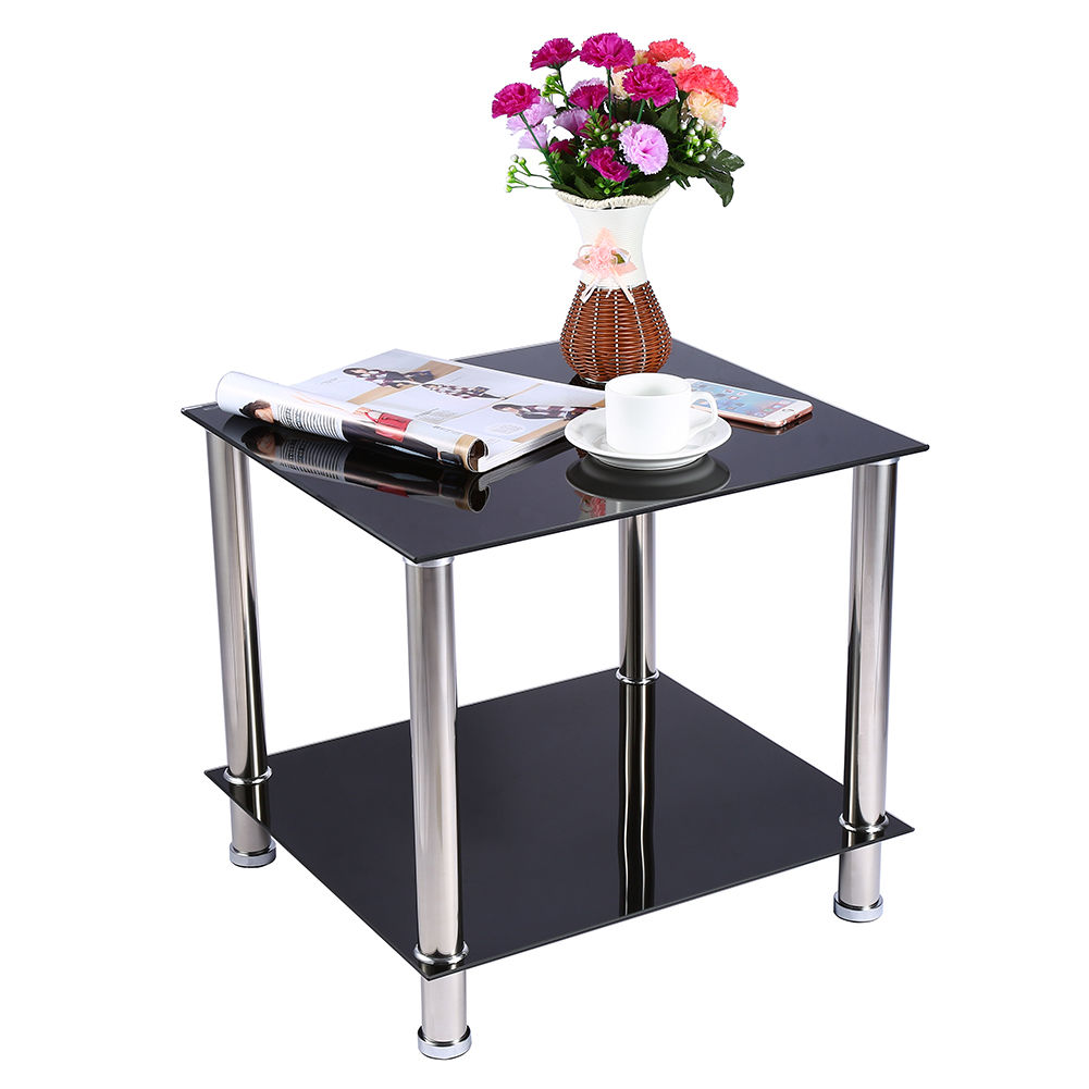 Modern coffee table glass steel side table with lower - Glass side tables for living room uk ...