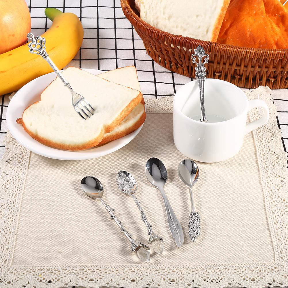 6pcs set home kitchen carved vintage zinc alloy spoons for Kitchen set zink