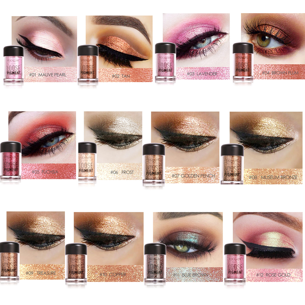 FOCALLURE 12 Colors Glitter Eyeshadow Loose Powder Eyes ...