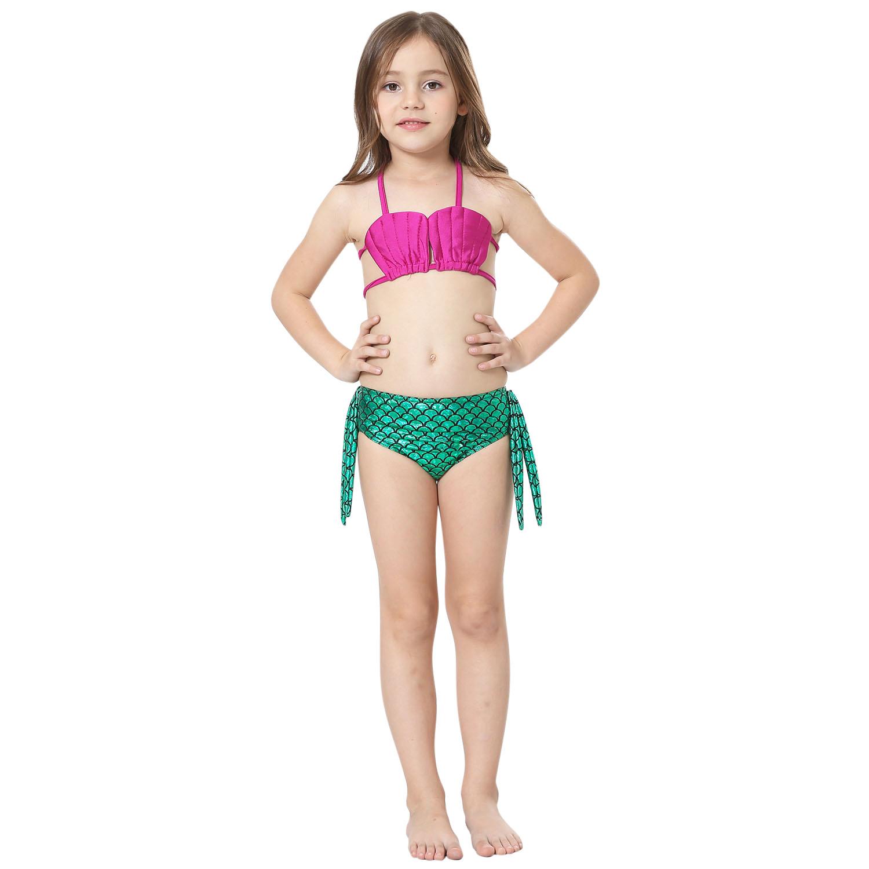 3PCS Girls Mermaids Tail Swimmable Bikini Suit Swimming ...