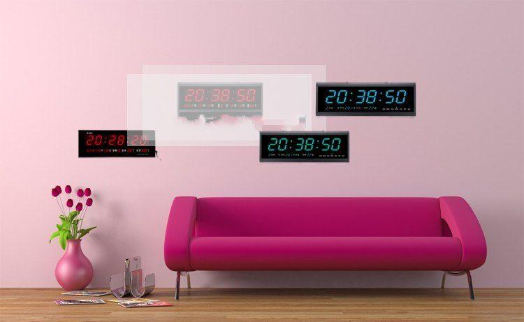 Green Digital Large Jumbo LED Wall Desk Clock Calendar Temperature ...
