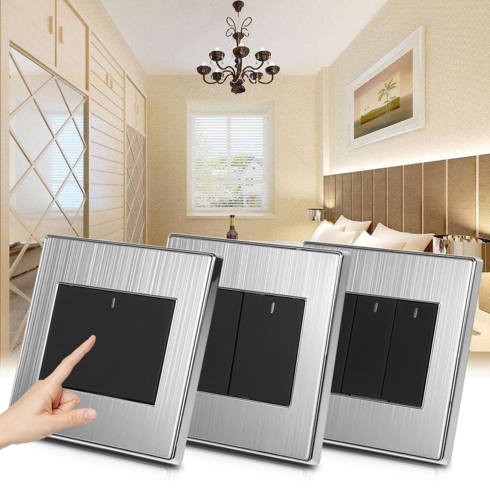 1/2 Way 1/2/3/4 Gang Wall Light Switch Panel Push Buttons With LED ...