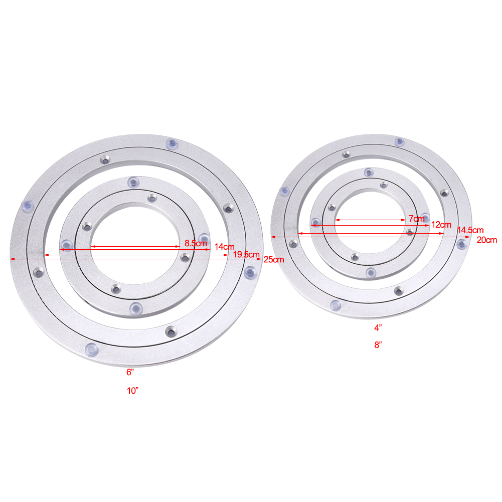 Rotating Tray Bearing Turntable Turn Table Round Smooth Swivel Plate Metal Alloy