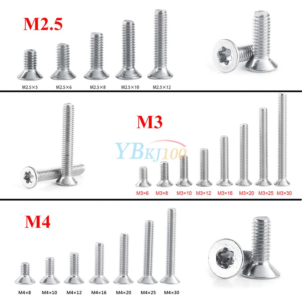 Details about 50pcs M2 5 M3 M4 Countersunk Flat Head Torx Drive Machine  Screw Bolt A2-70 inm