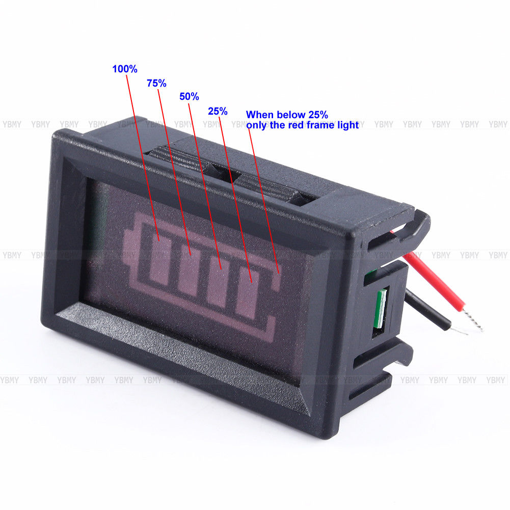 12v Lead Acid Battery Power Indicator Meter Capacity Voltage Led Discharge 1 X Tester