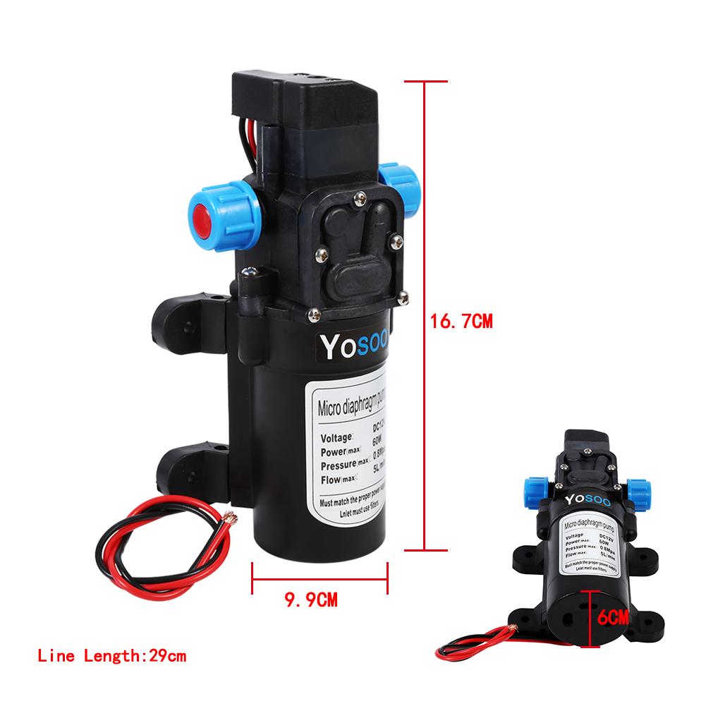 Hochdruck Membranpumpe Automatisch Wasserpumpe 60W//100W Pumpe 12V 115PSI//145PSI