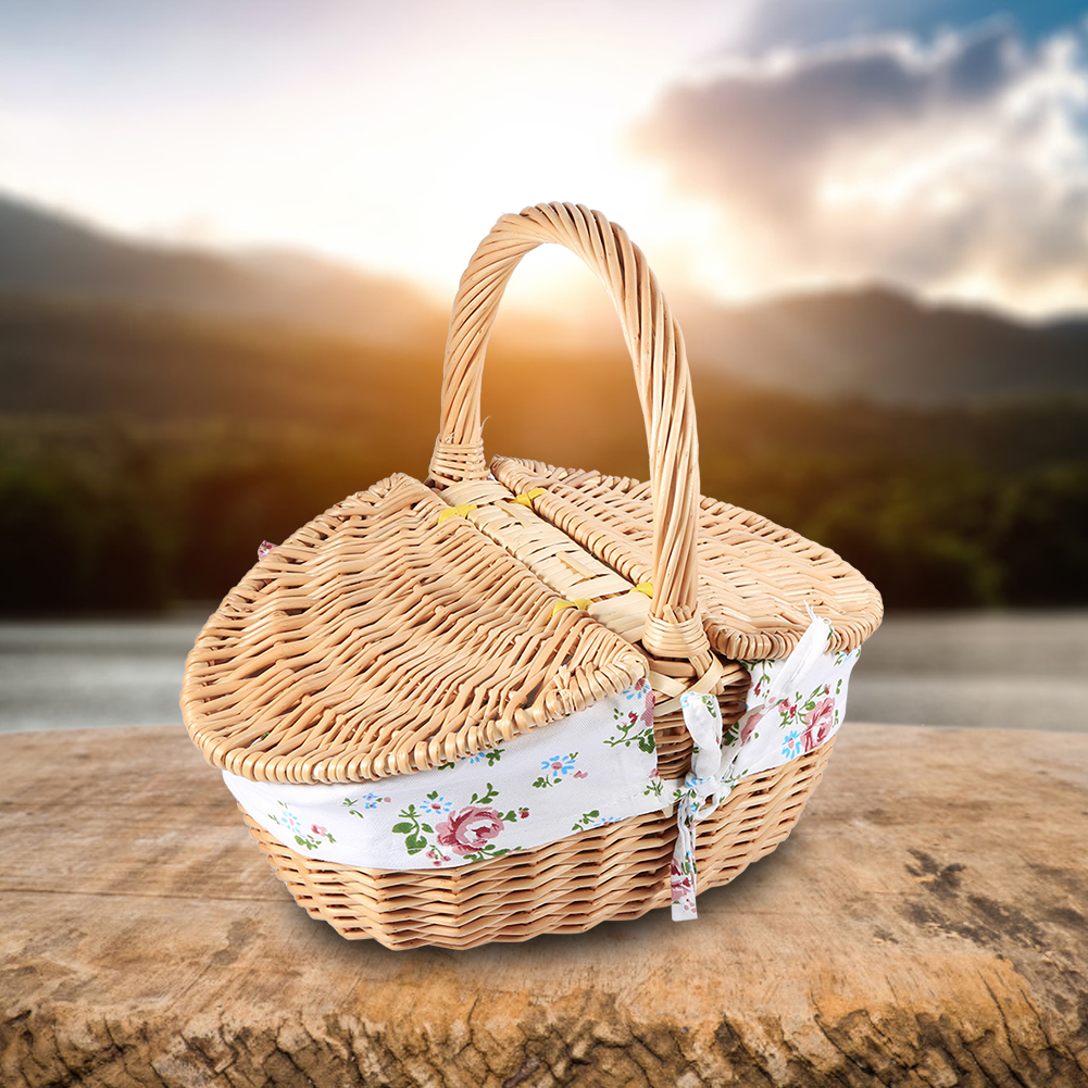 Wicker Camping Picnic Basket Shopping Storage Hamper With