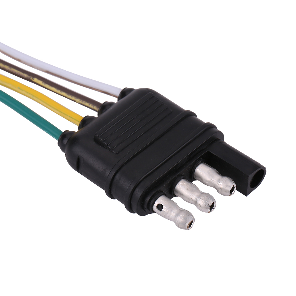 6V/12V/24V 4 Pin Flat Trailer Plug Light Socket Wire Connector ...