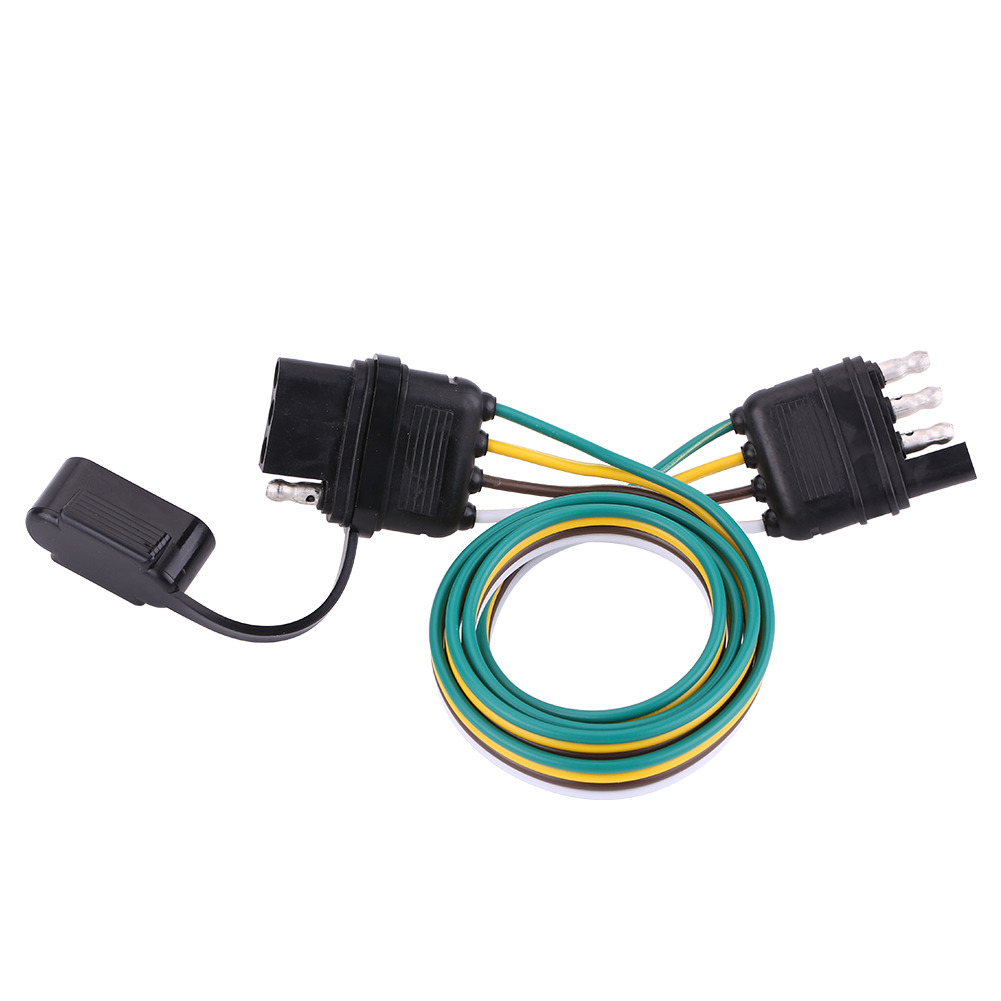 6 12 24v Trailer Wiring Harness Extension 4 Pin Plug Flat Wire Connector Adapter