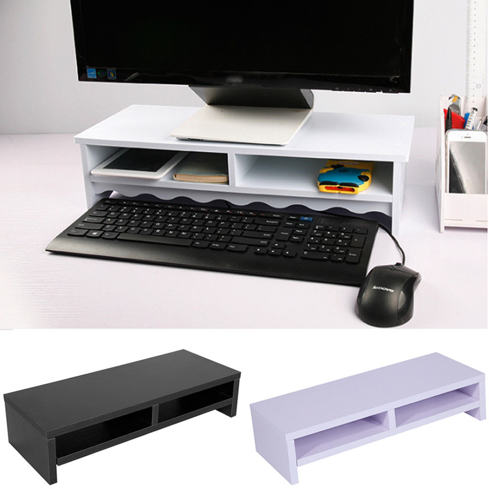 2 Layer Wooden Monitor Stand Lcd Computer Monitor Riser