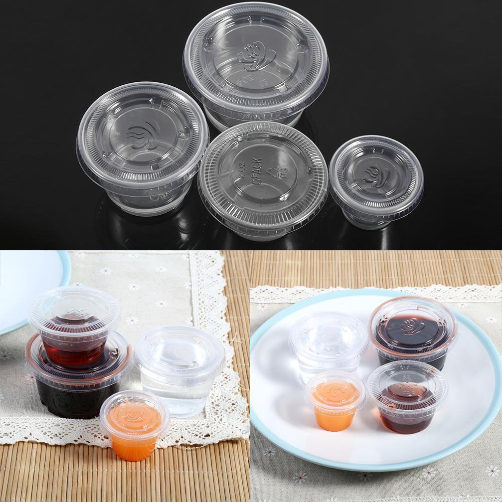 50Set Kitchen Disposable Plastic Sauce Cup Chutney Cups Box Pot Container  Lid LJ