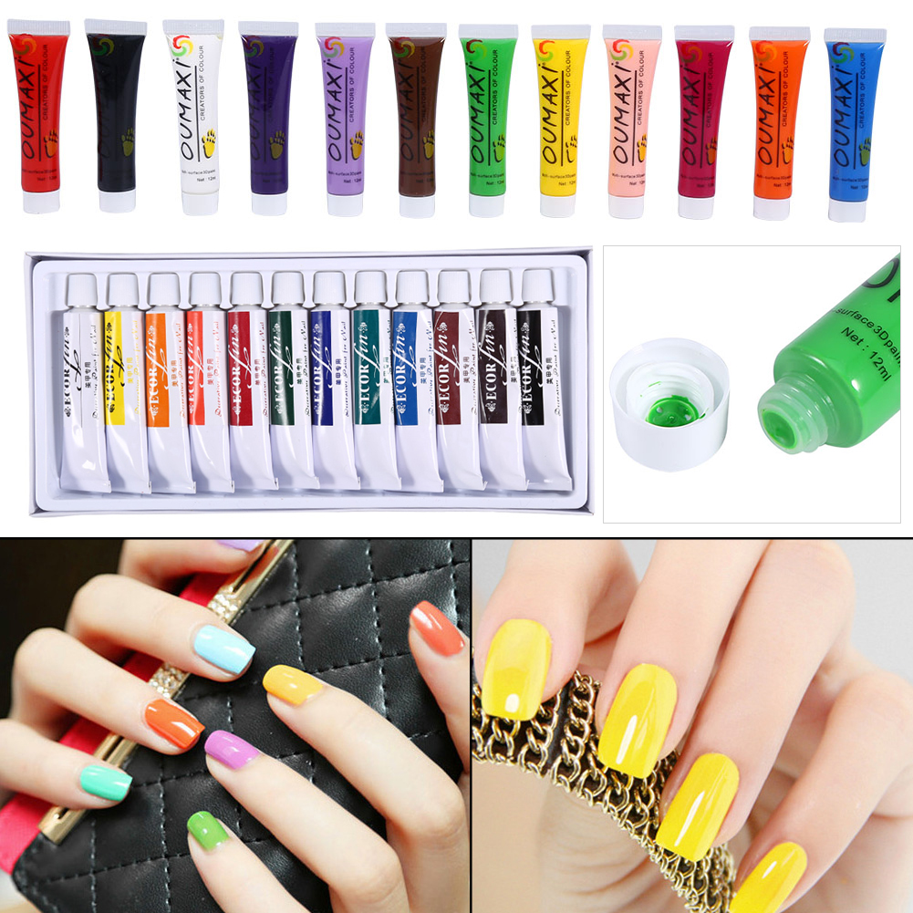 12 Colors 12ml 3d Nail Art Paint Tube Pigment Draw Painting Design