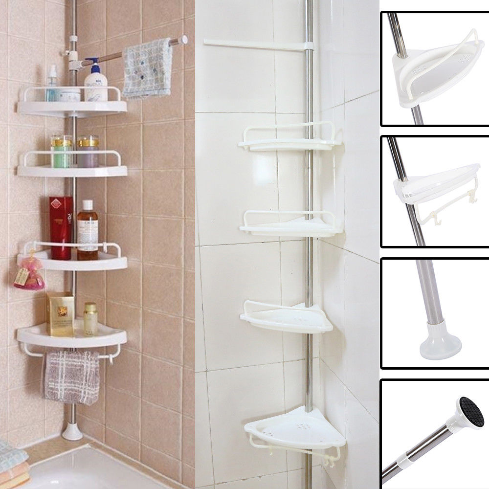 Details about New Bathroom Bathtub Shower Caddy Holder Corner Rack Shelf Organizer Accessory