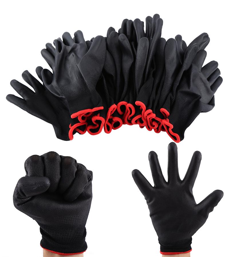 12 Pairs Black Nylon PU Coated Safety Work Gloves Safety Garden Grip Builders SP