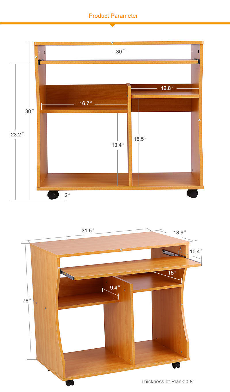 home office small portable wooden computer trolley desk keyboard storage shelves ebay. Black Bedroom Furniture Sets. Home Design Ideas