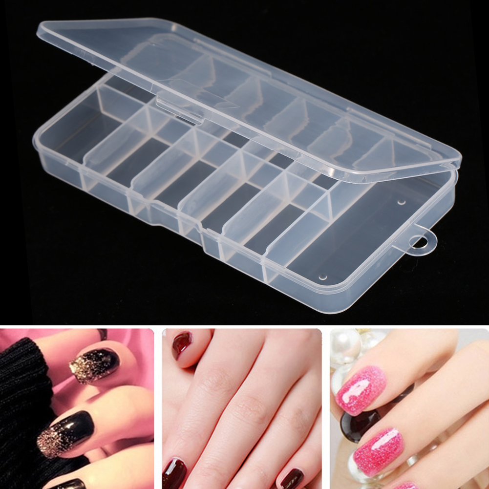 10/28 Grids Crystal Beads Jewelry Decor Case Nail Art Empty Storage ...