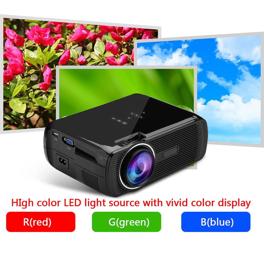 Hd 1080p Overhead Portable Mini Led Lcd Projector Pc Av Tv: Full HD 1080P Mini Portable Home Theater LED Projector