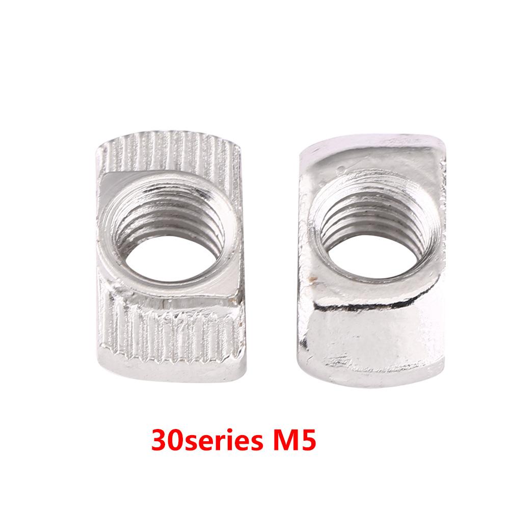 T-Nut 50pcs T-Nut European Standard Galvanised Silver Carbon Steel Fastener Extrusion Slot for Aluminium Profile M6