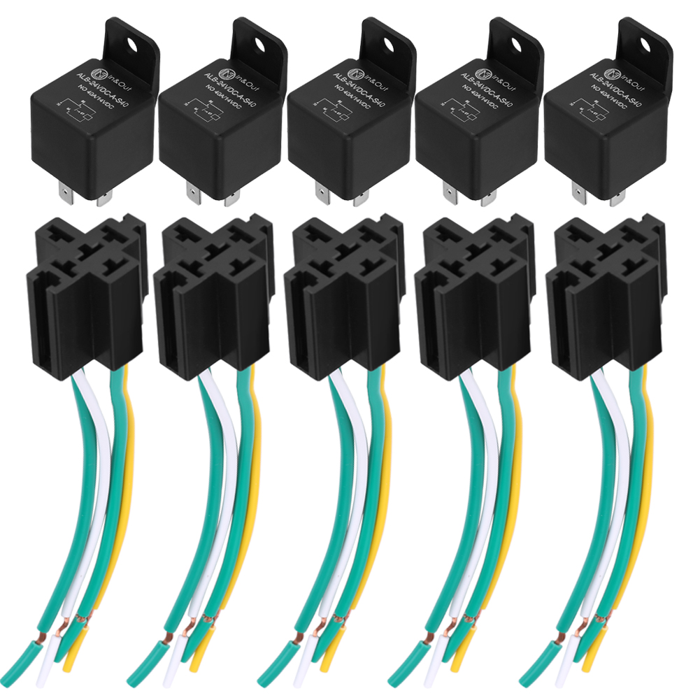 5x 24v 40a Amp Relay  U0026 Socket Holder 4 Pin 4 Wire For Auto